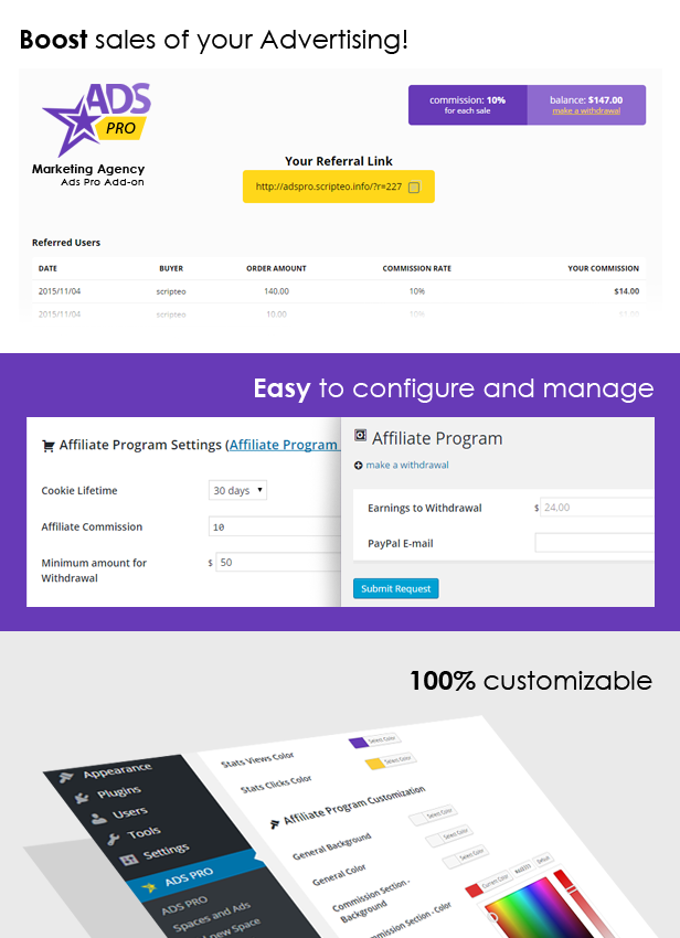 ADS PRO - WordPress Affiliate Program Add-on