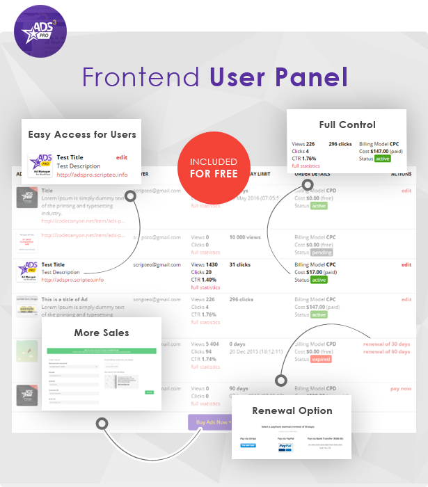 Ads Pro - User Panel